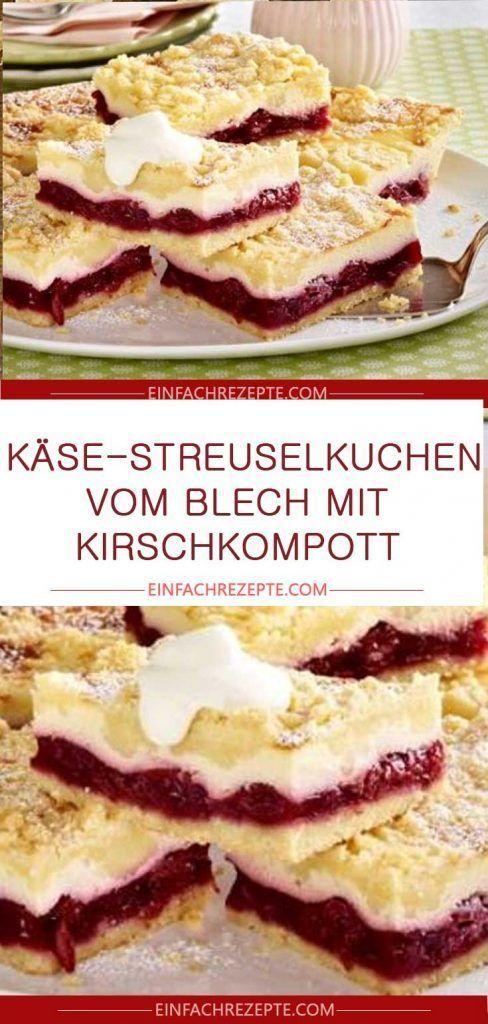 Photo of Käse-Streuselkuchen aus einer Dose mit Kirschkompott