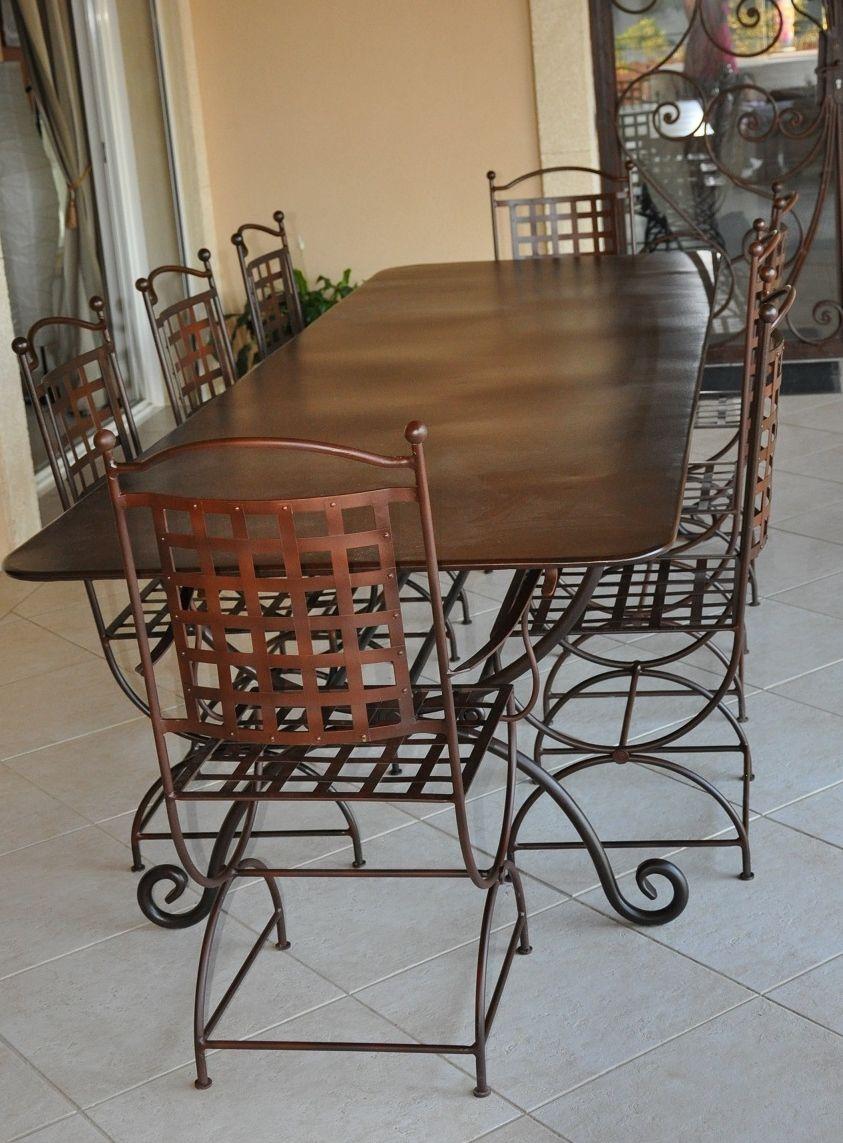 Ensemble Table Rectangulaire Robion 3m X 1m + 6 Chaises Robion + 2  Fauteuils Robion Mobilier