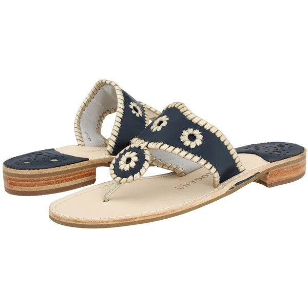 4dc767371226e5 Jack Rogers Palm Beach Navajo Platinum (Navy Platinum) Women s Sandals  ( 80) ❤ liked on Polyvore featuring shoes