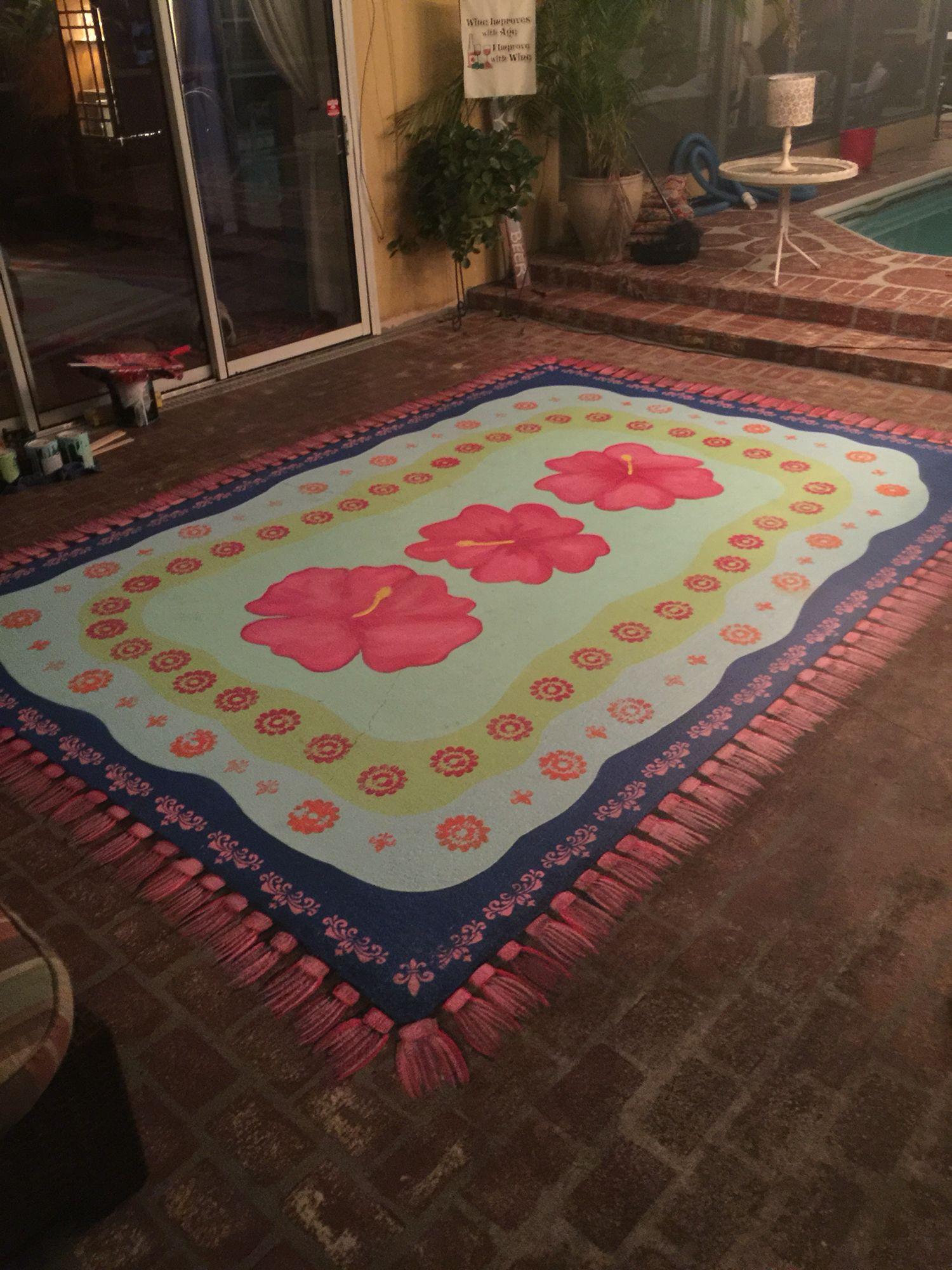 painted rug on concrete patio | decor ideas | pinterest | paint