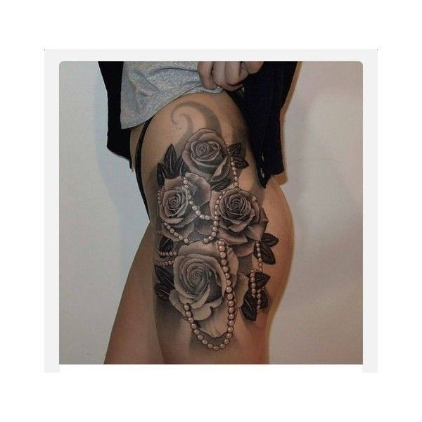 Most Stylish Thigh Tattoos Designs ❤ liked on Polyvore featuring accessories and body art