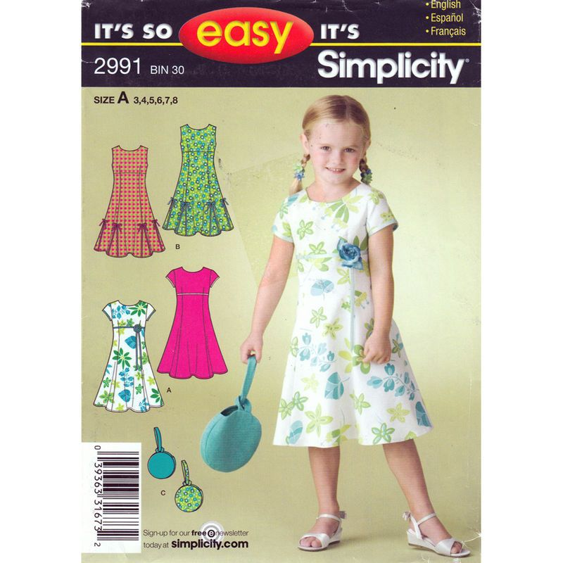 Girls Dress Pattern Simplicity 2991 Princess Seam Flared Dress Round ...