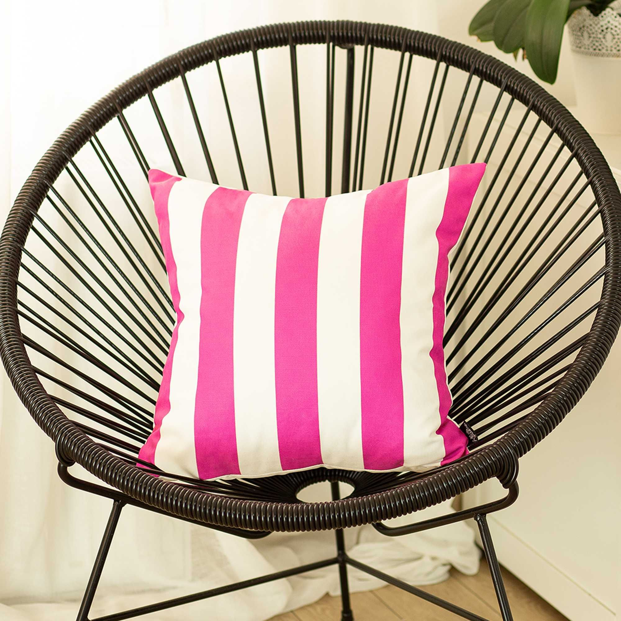 Pillow Covers - 18x18 Pink Stripes Geometric Decorative Throw Pillow Cover - Multi / Polyester