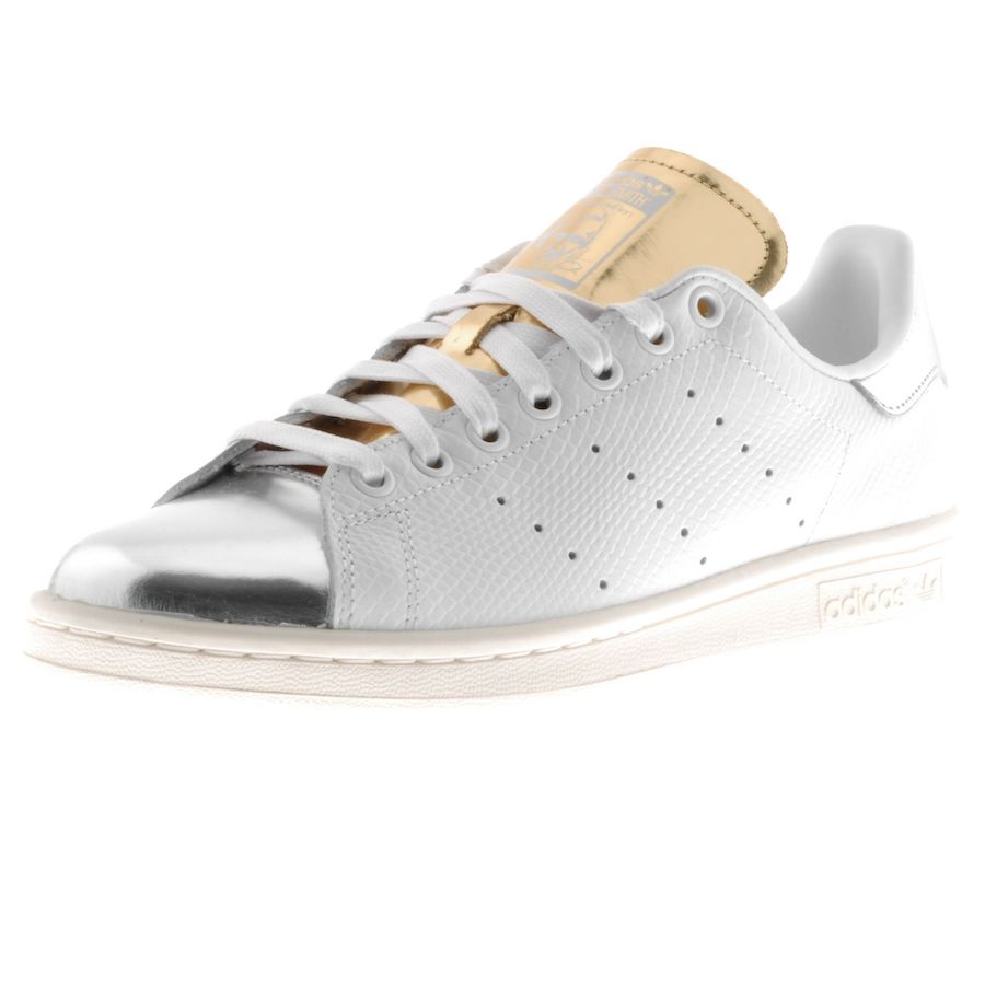 Adidas Originals Stan Smith Trainers In White Leather, Full white front  lace fastening with silver