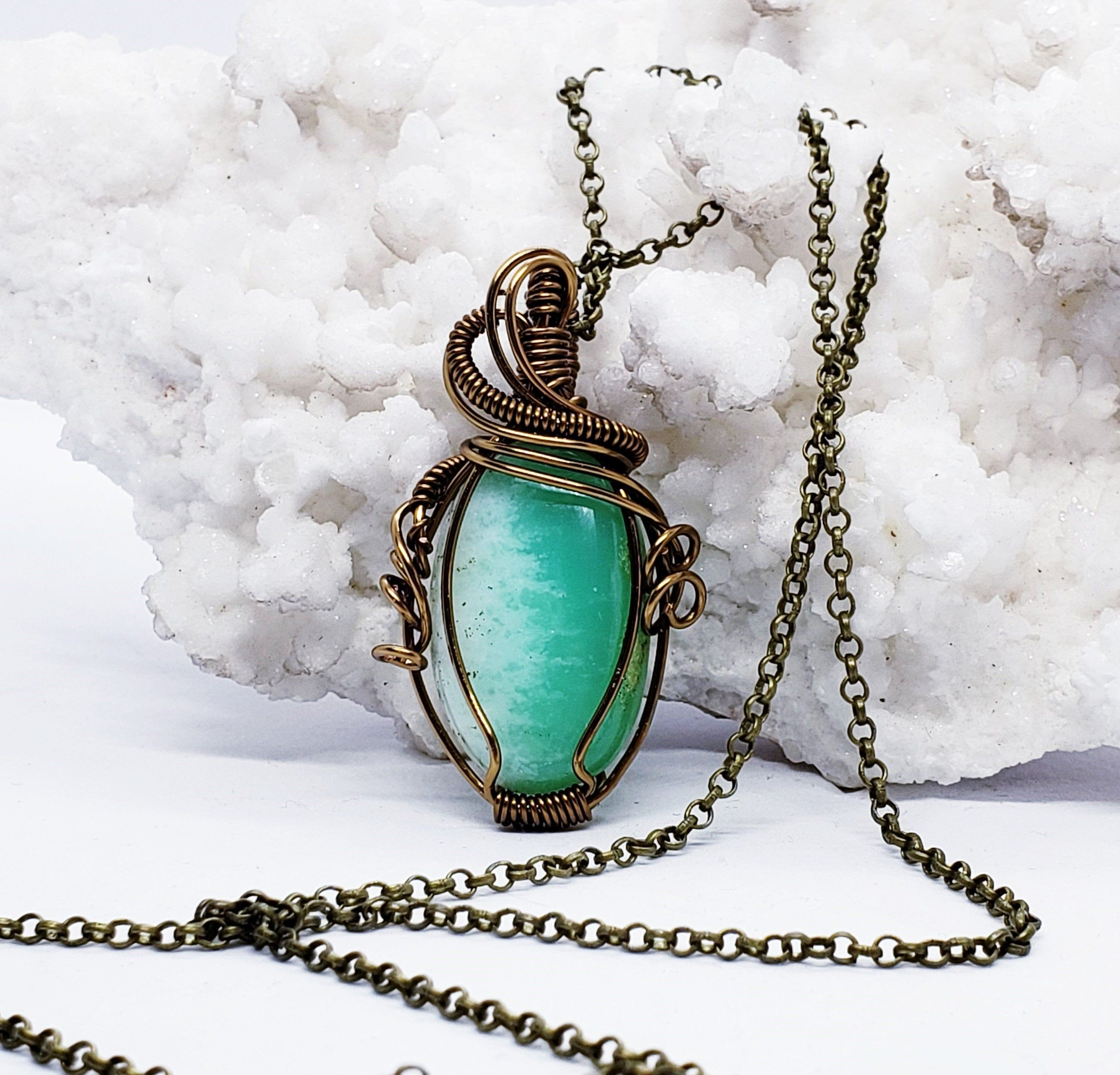 Chrysocolla Necklace Wire Wrapped Necklace Wire Wrapped Jewelry Handmade Jewelry Healing Crystals The Stone Fairy Wicca Witchy Pagan CR124