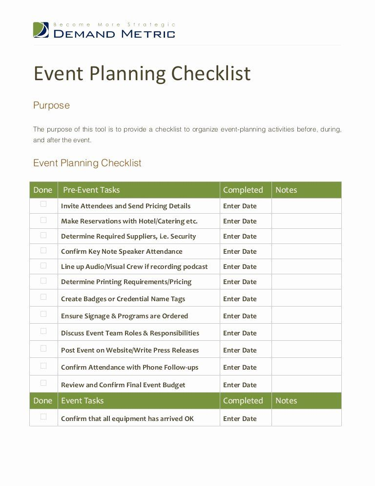 30 Corporate event Planning Checklist Template in 2020