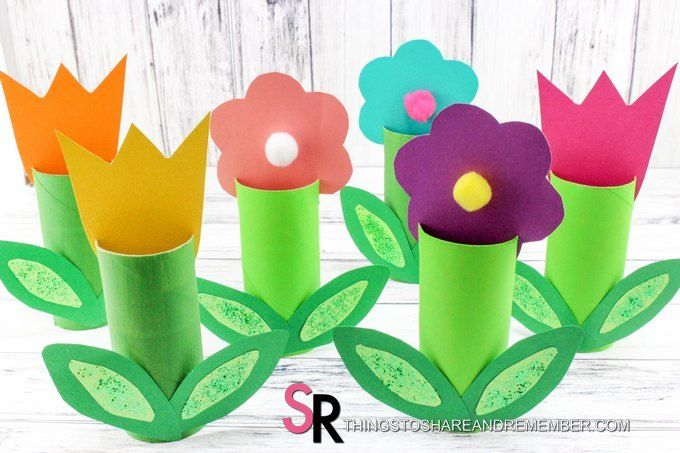 Paper Roll Spring Flowers Craft Flower Crafts Paper Roll Crafts