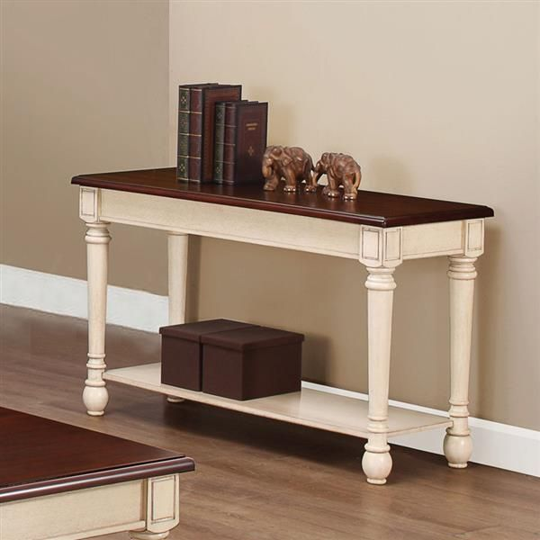 Transitional Dark Brown Antique White Wood Sofa Table