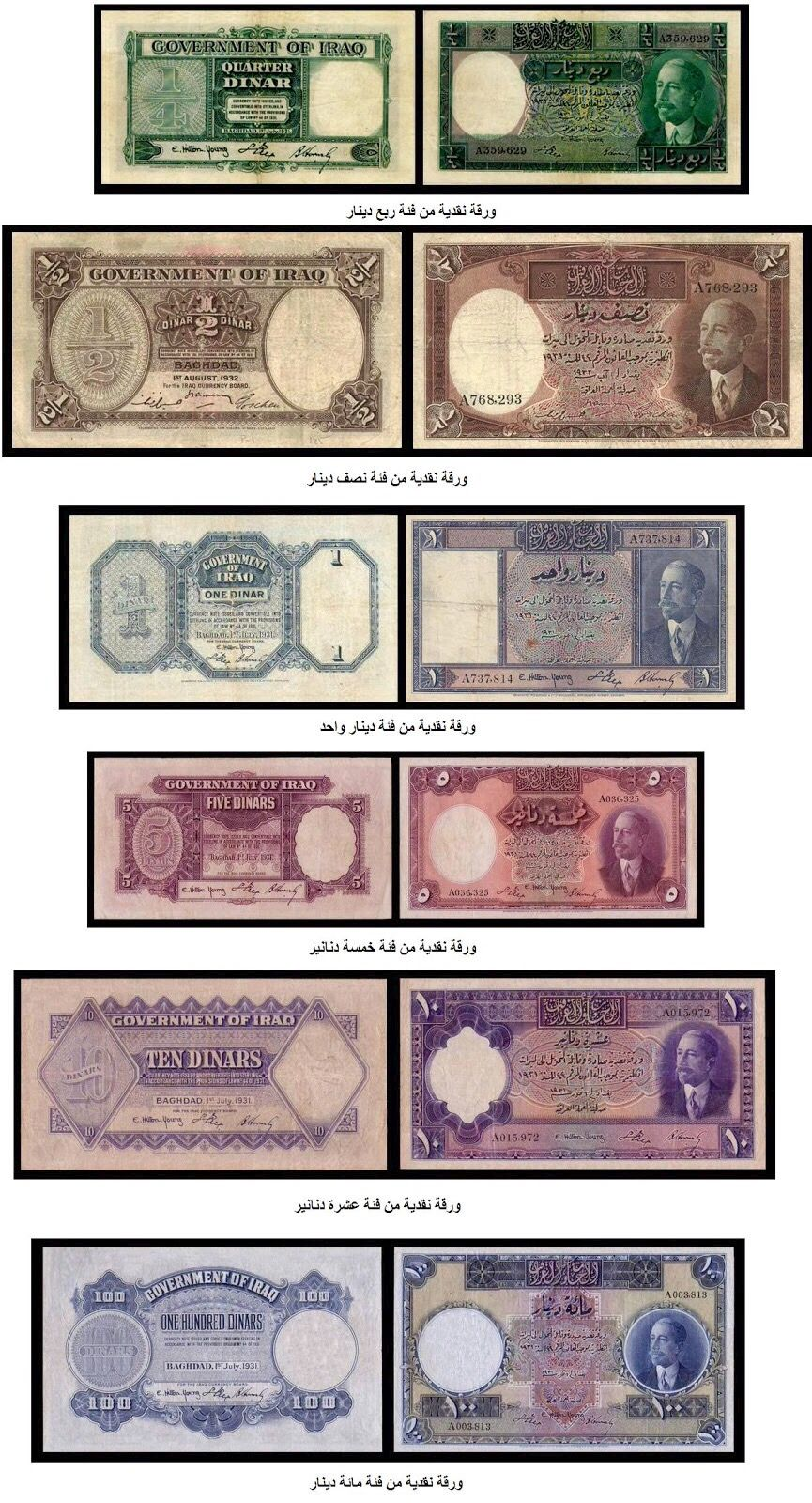 First National Iraqi Currency At 1932 King Faisal 1 Historical Coins Money Collection Iraq