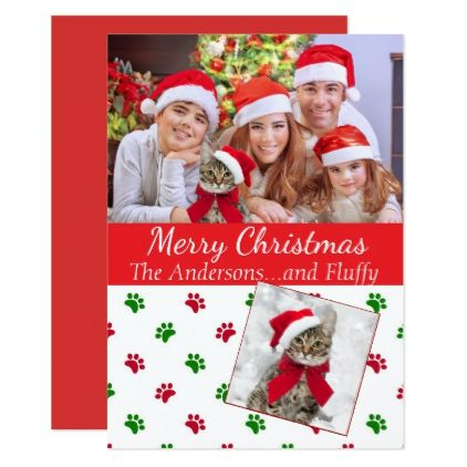Pet Photo Christmas Card With Paw Prints Zazzle Com With Images