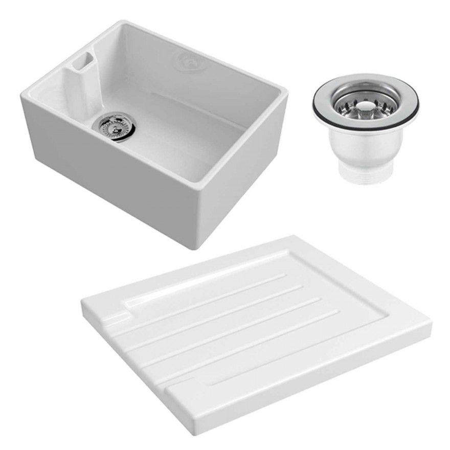 Reginox 60cm White Belfast Ceramic Kitchen Sink & Ceramic Grooved ...