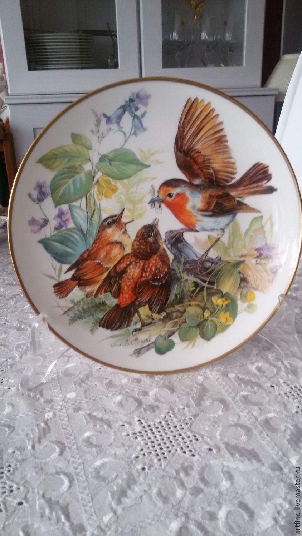"""Купить Тарелка """"Голодные малиновки"""" - разноцветный, тарелка, птицы, дом, уют, Новый Год, зима"""