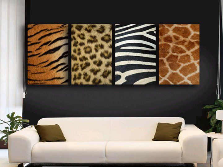 Living Room With African Decor Use Animal Skin As Wall Decoration