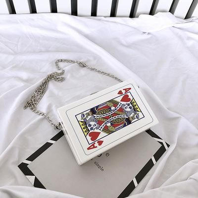 Women's Chain Shoulder Crossbody Bag Fun Poker Card Leisure Letters Small Square Trendy Handbags Bolsa Color Black