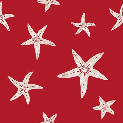 Necr Print Starfish Fabric By The Yard Color Red Sand