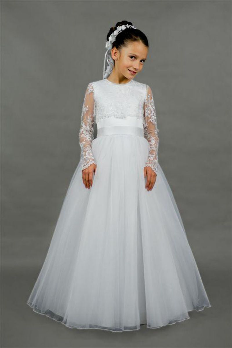 302027598 Elegant White Ivory Lace Long Sleeve First Communion Dresses for ...