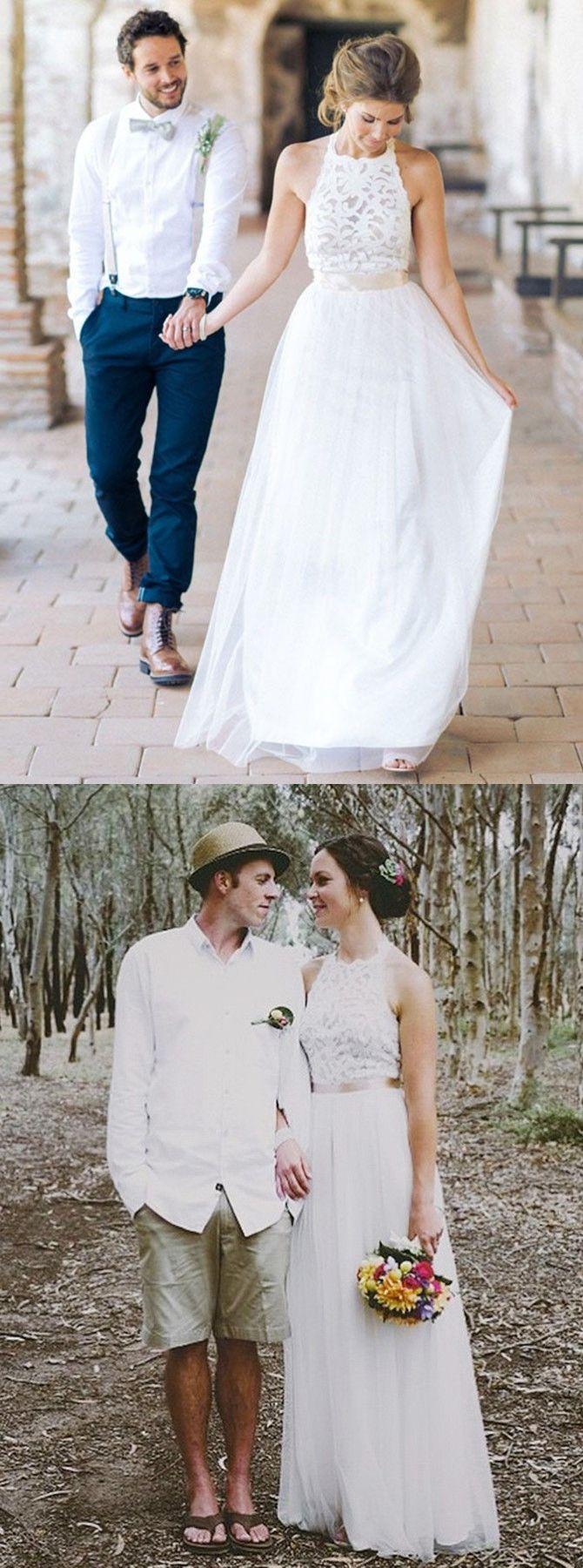 Lang Schlicht Juwel Ärmellos Bodenlangen Spitze Tüll Weiß Hochzeitskleid mit Schleife