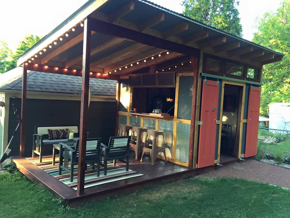 Shed plus dining platform idea shed conversion pinterest sheds platform and covered patios for Summer garden and bar