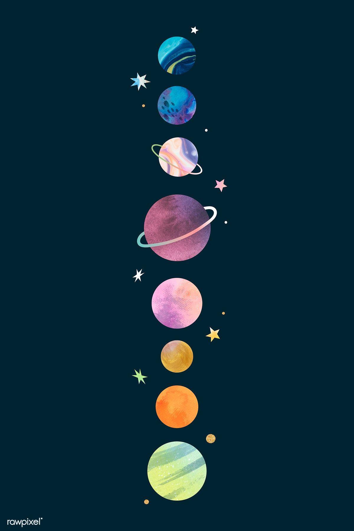 Download premium vector of Colorful galaxy watercolor doodle on black
