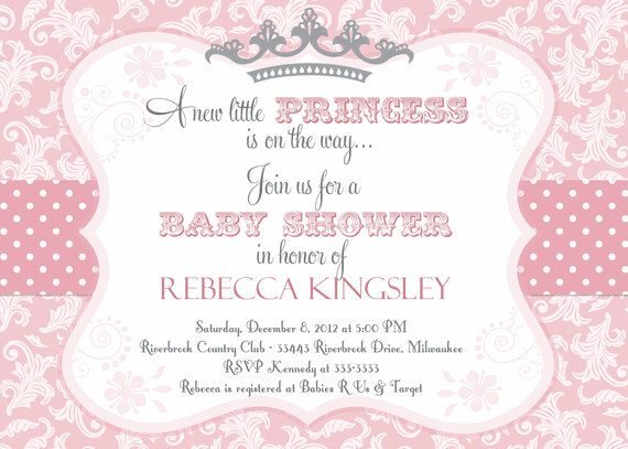 princess baby shower invitation in pink and grey with a tiara, Baby shower invitations
