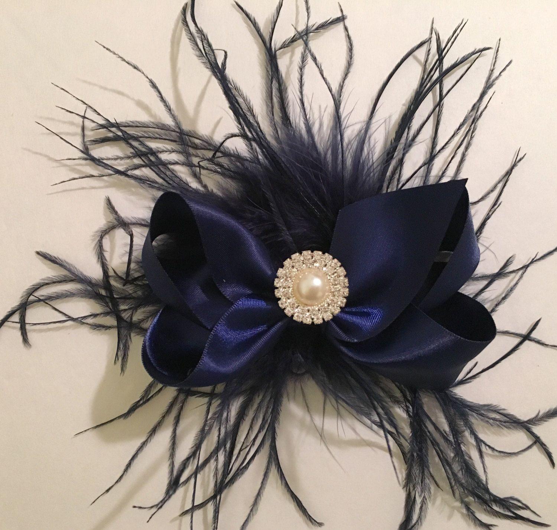 silver gray hair bow , holiday hair bow, flower girl bow