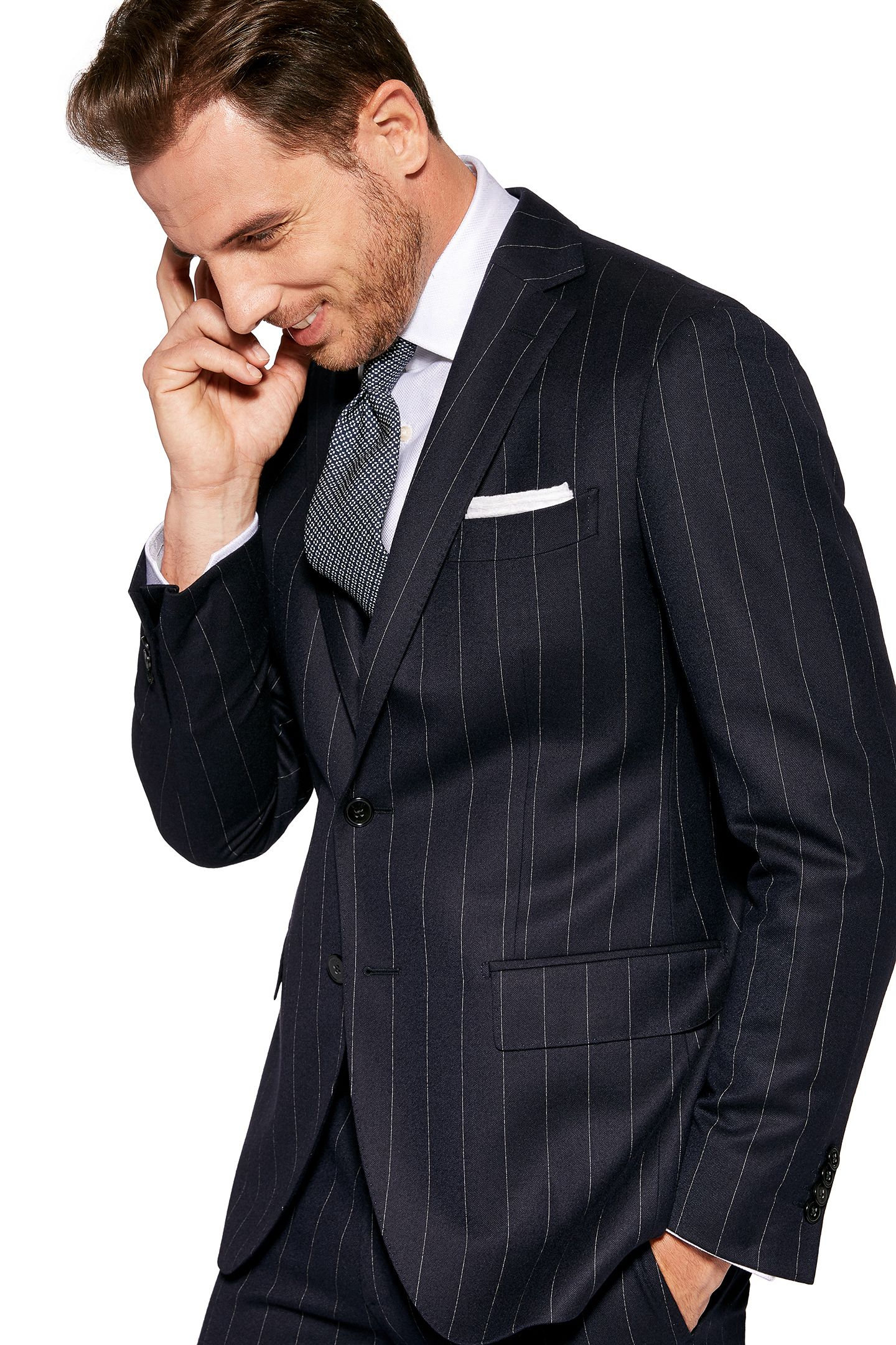 WIDE PINSTRIPE SUIT , SUPER 130 WOOL , MADE IN ITALY, Navy