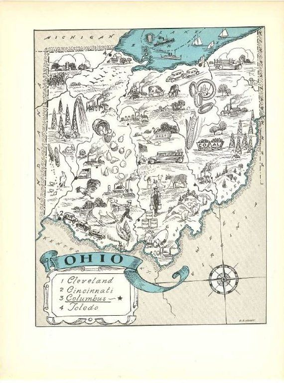 Vintage Ohio Map Art / State Wall Decor / Quinn State Map Wall Art