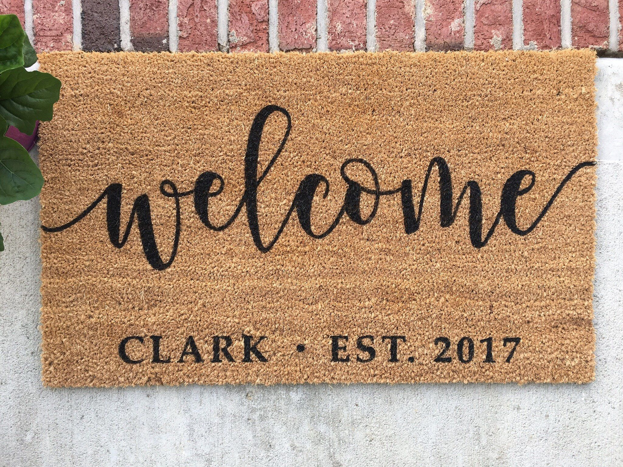 Personalized doormat hand painted door mat personalized welcome mat