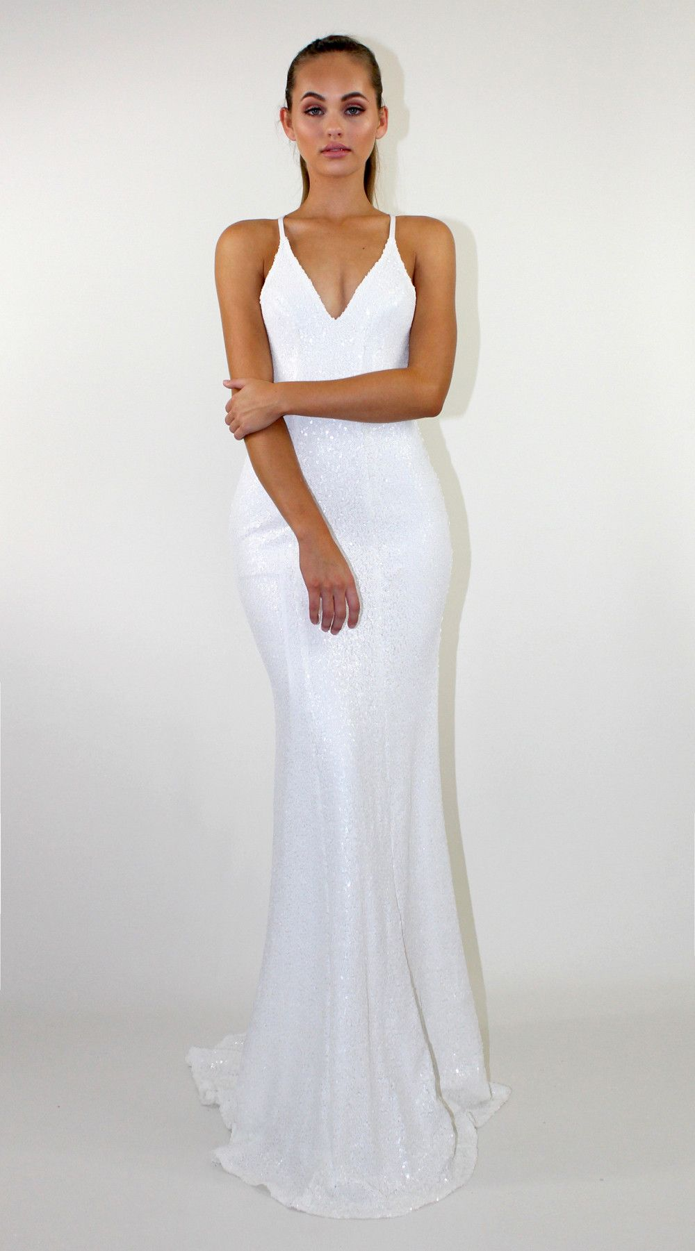 Goddess White Long Sequin Dress White Sequin Dress Low Back Dresses [ 1801 x 1000 Pixel ]