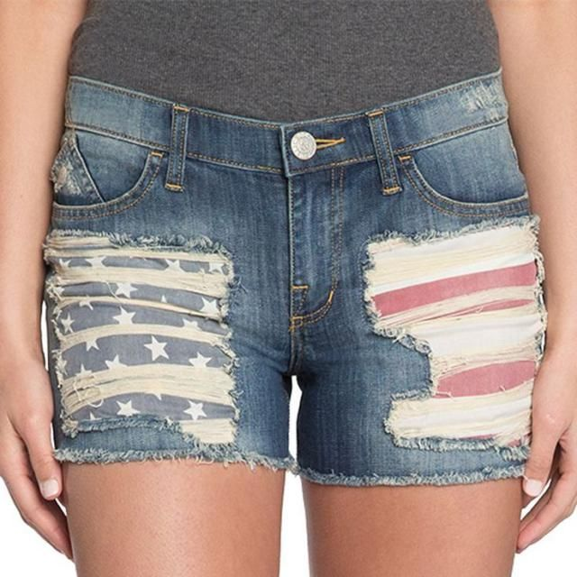 4th of July Fashion - Patriotic Red White and Blue Jean Shorts ...