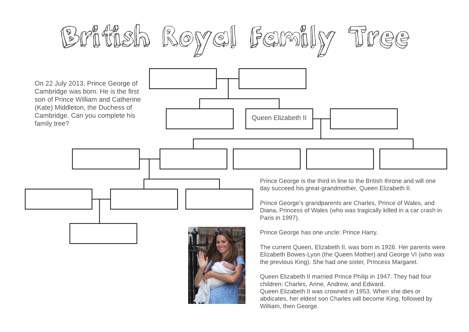 My my family anglais ce2 - Adventures In Tefl British Royal Family Tree Free Printable Worksheet
