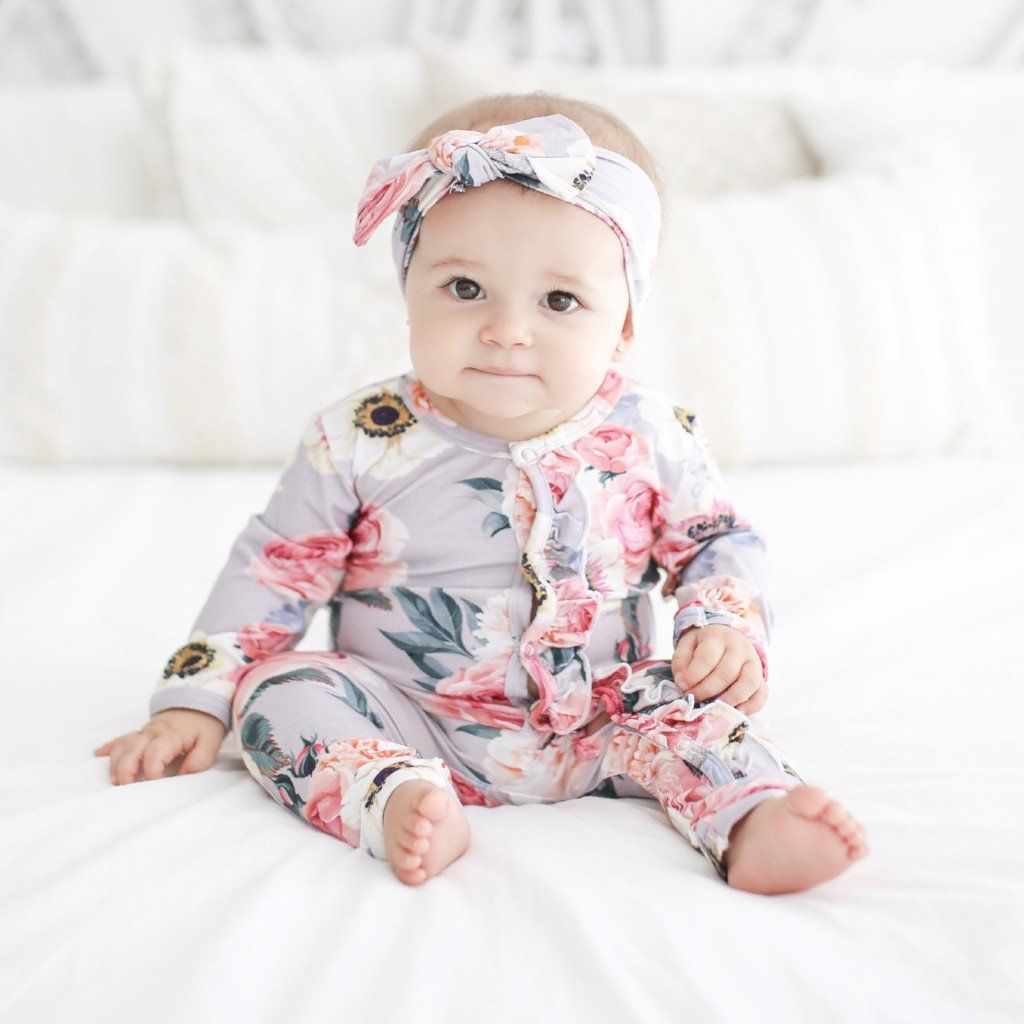 French Gray Footie Ruffled Zippered One Piece  Cool baby clothes