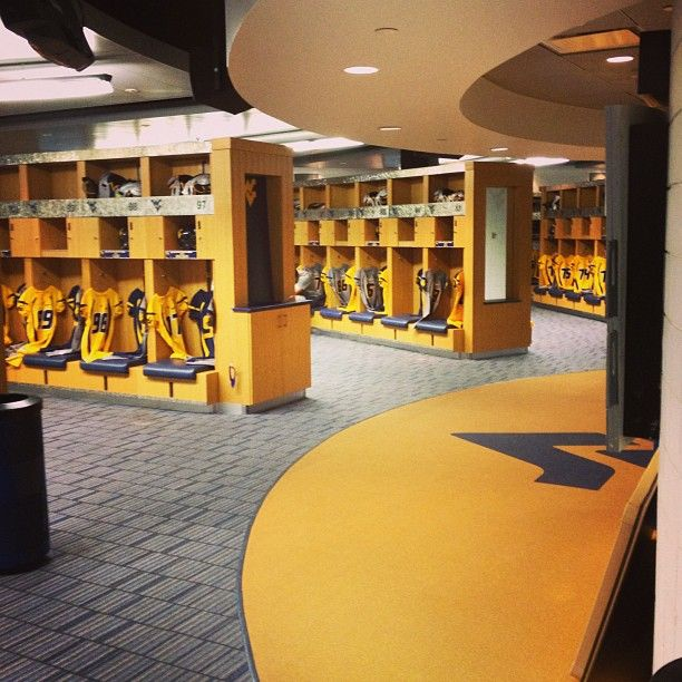 A Look Inside The Wvu Football Locker Room Thanks For The Photo Grant Ling Wvu Connectwvu Country Roads Take Me Home West Virginia Colleges Wvu Football