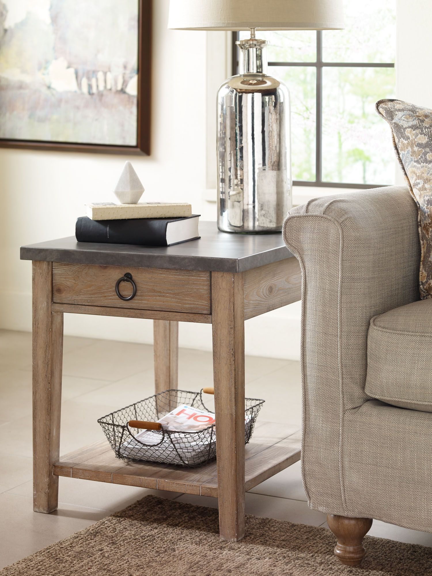 Monteverdi Metal Top End Table Rachael Ray Home Legacy Classic Furniture Rachaelray Livingroom Liv With Images End Tables Rustic End Tables End Tables With Drawers