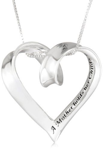 Sterling silver a mother holds her childs hand for a short while santas tools and toys workshop jewelry sterling silver a mother holds her childs hand for a short while and their hearts forever open heart pendant aloadofball Image collections
