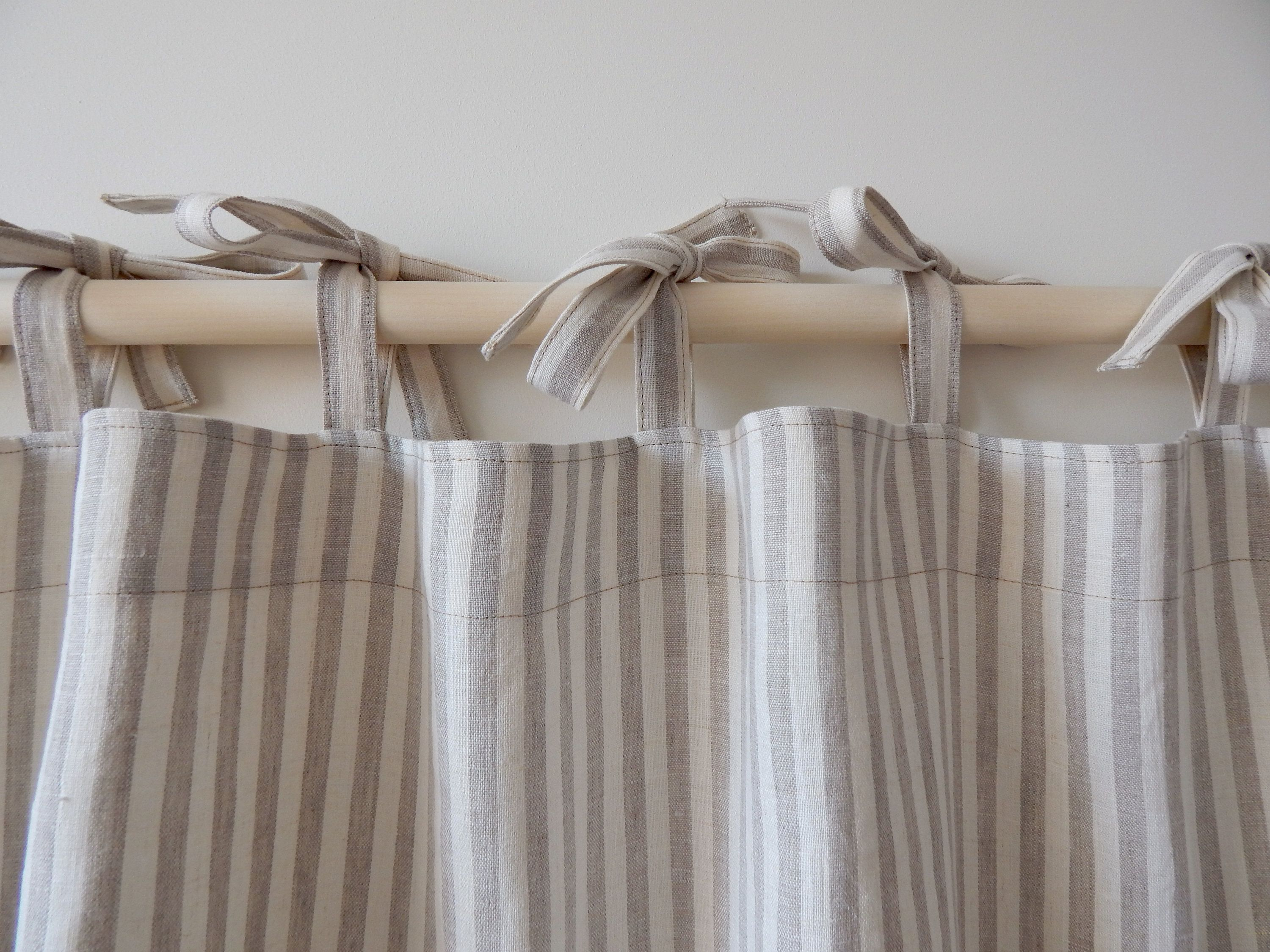 Linen curtains Natural striped curtains Kitchen curtains