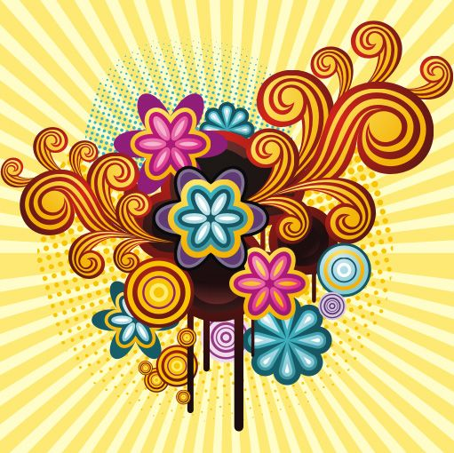 Picture Graphics   Abstract, Background, Colorful, Design, Flowers, Retro,  Style, Swirls .