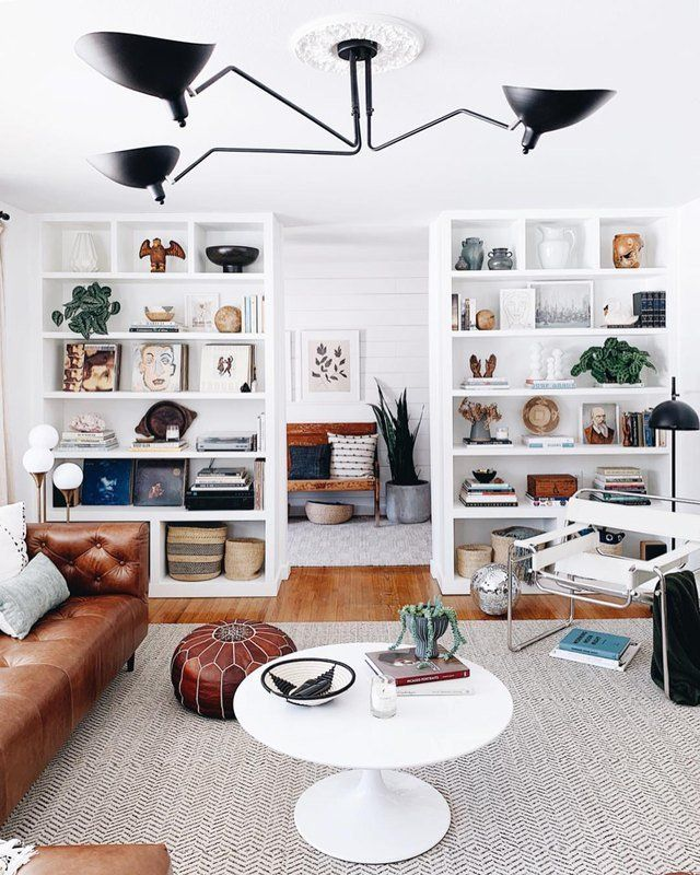 The Open Shelving in This Contemporary Living Room Is Giving Us Life images
