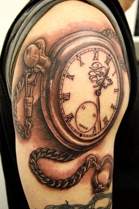 1cfb55918dedb Watch Chain Tattoo on Right Shoulder | Tattoo | Chain tattoo, Back ...