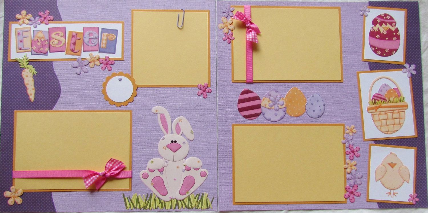 Scrapbook ideas easter - Premade 12x12 Scrapbook Pages Baby S First Easter Baby Boy First Year Album Baby S First Holidays 1st Year Scrapbooking Layout Scrapbook Easter