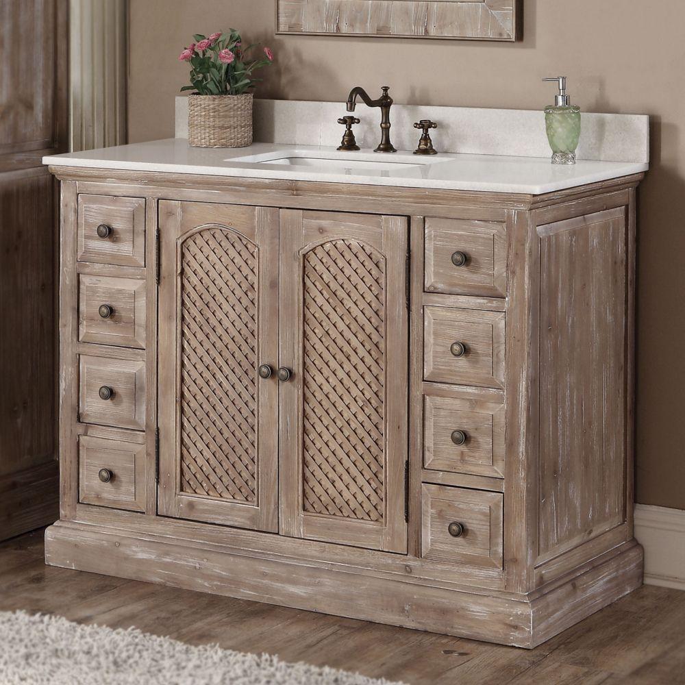 Infurniture Rustic Style 48 Inch Single Sink Bathroom Vanity 48