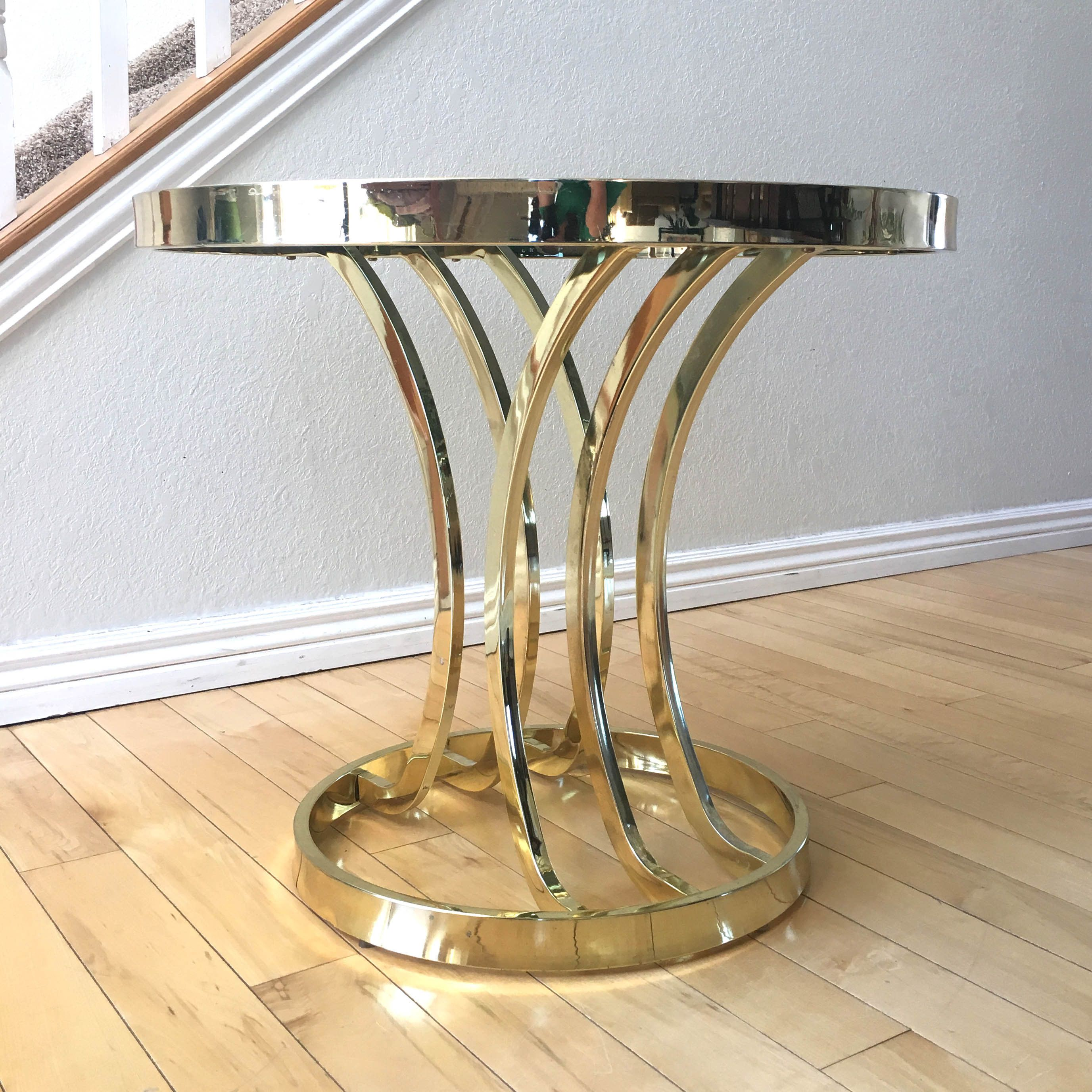 Brass Glass Side Table Vintage Hollywood Regency Round Coffee Table By Design Industries Of America Side Table Glass Side Tables Metal Furniture Design [ 2753 x 2753 Pixel ]