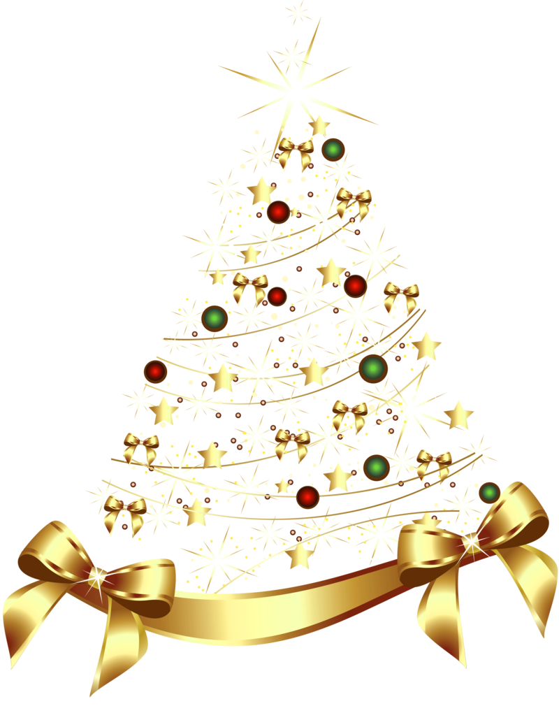 Large Transparent Gold Christmas Tree With Gold Bow Png Clipart 1 Png Gold Christmas Bows Gold Christmas Tree Christmas Bows
