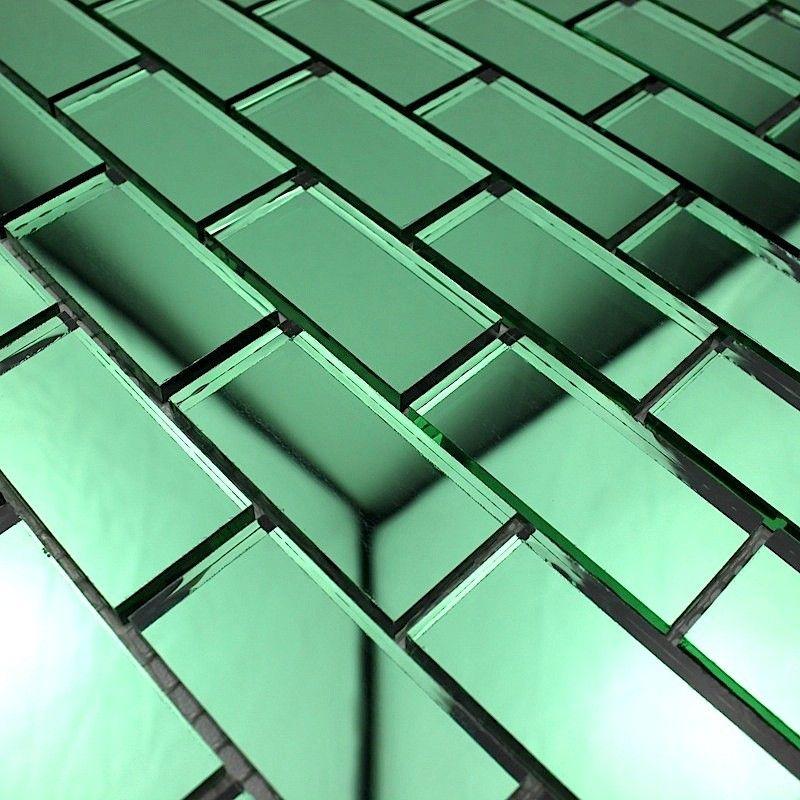 Mosaique Verre Carrelage Effet Miroir Reflect Brique Vert 7,90