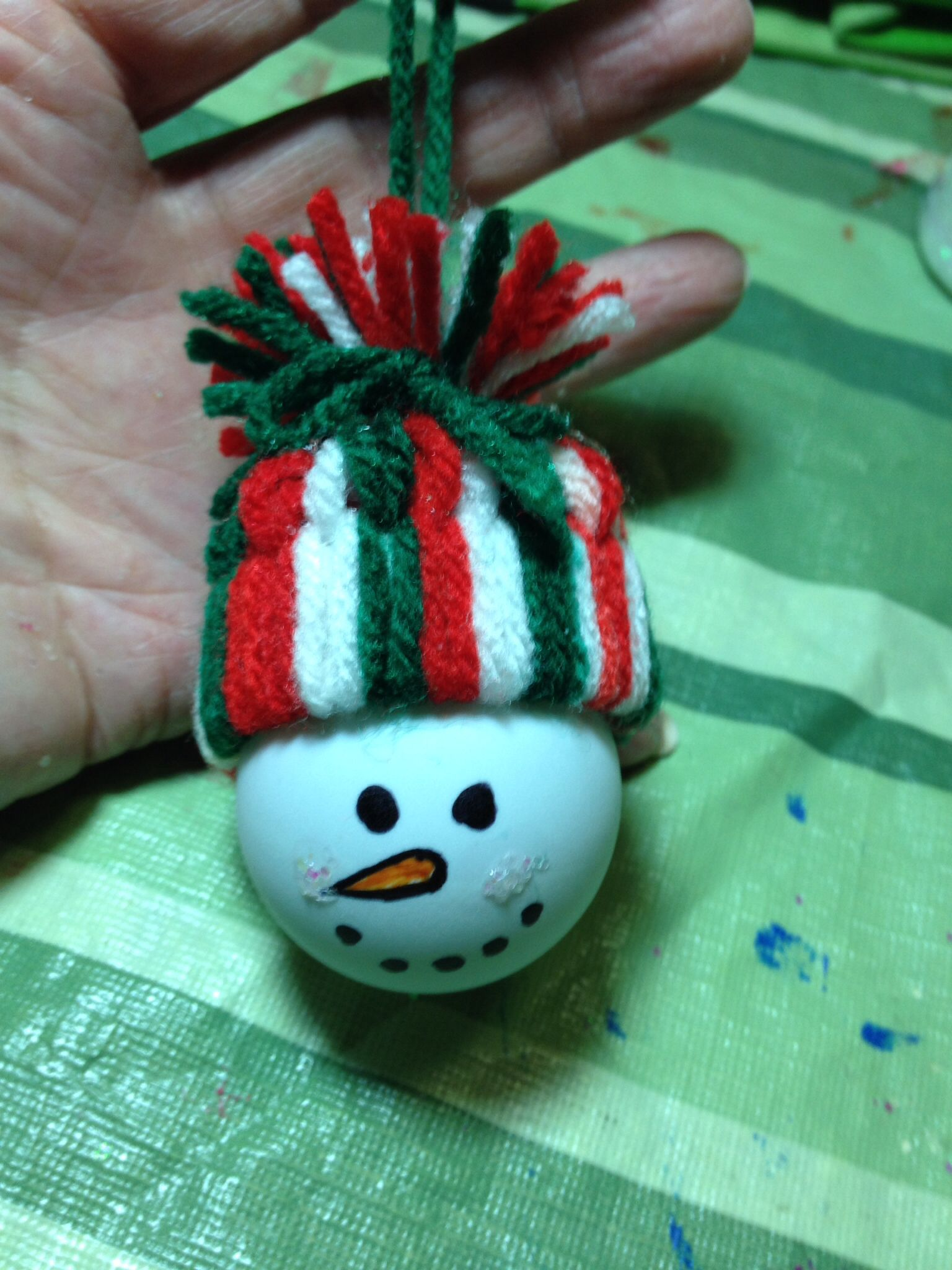 Snowman Ornament made with ping pong