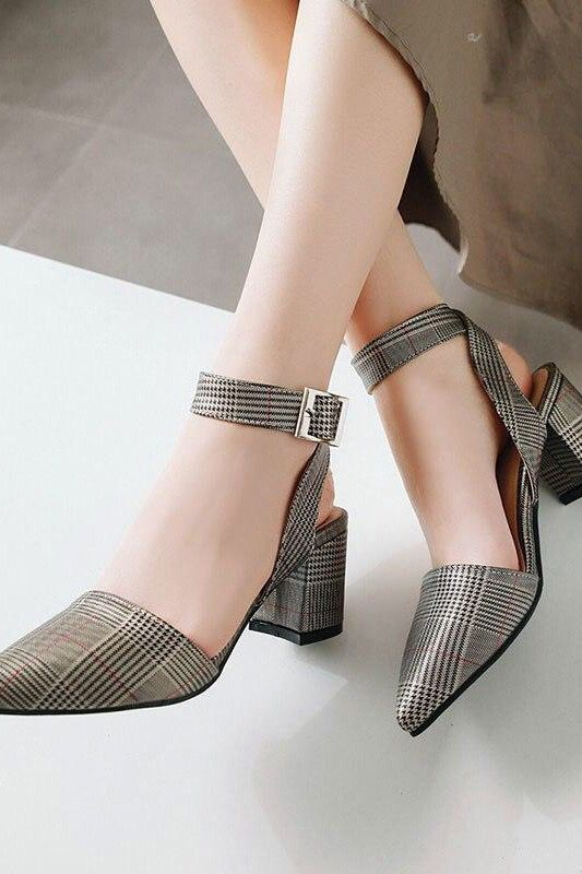 Fashion Big Ankle Strap Pointed Toe Sandals Women High Heels is part of Fashion - This plaid wedge pump makes you feel chic  Simple and elegant black and white plaid print  Ankle straps and pointed toes bring a custommade finishing touch  PU upper material Buckle strap closure Ankle boot height Pointed toe Smooth lining, allday comfort insole  Quality heel