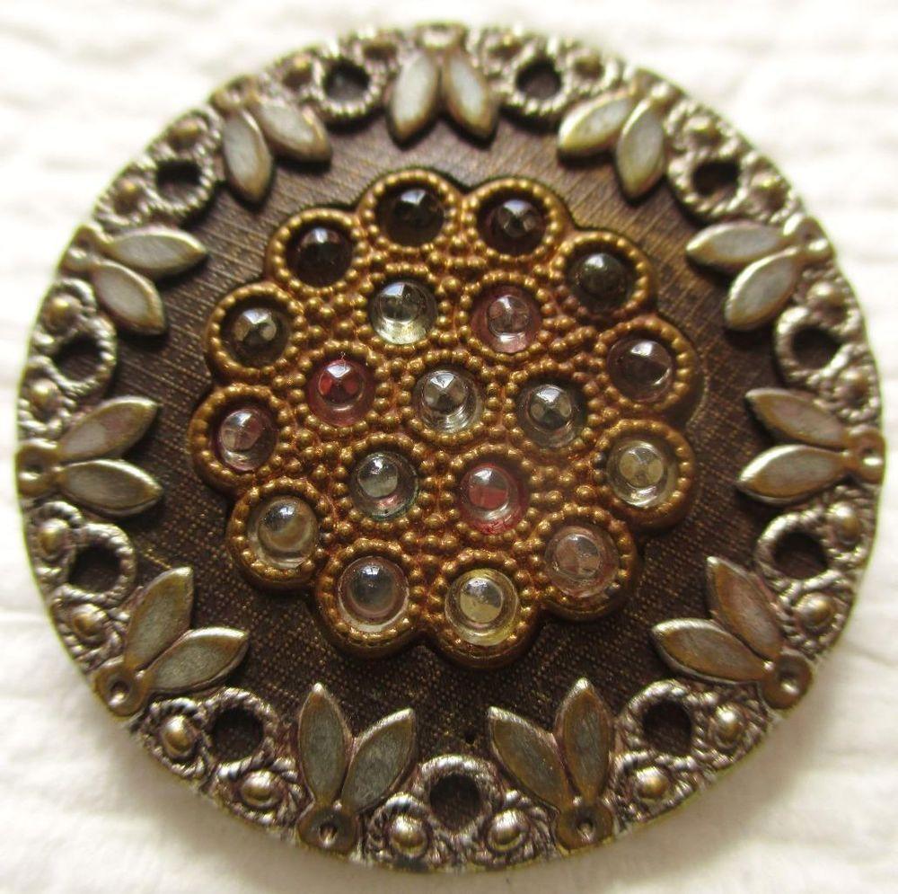 Outstanding LARGE Antique~ Vtg Metal & Celluloid Jewel BUTTON w/ GLASS Pastes