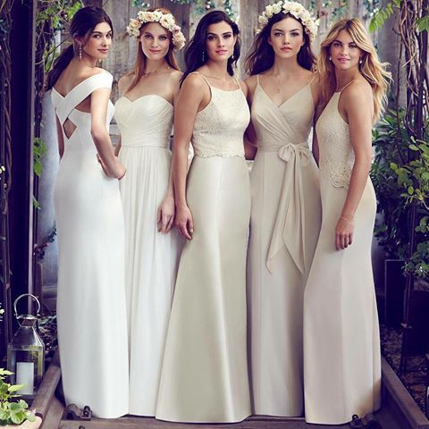 Trending now :: All white, all night. Choose white for your #bridemaids to stand out and shine!   Styles (L-R) Dessy 2987, Dessy 2991, Dessy T2982 with S2980, Social 8181, After Six 6764