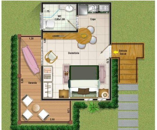 planos de casas pequenas 1 dormitorio