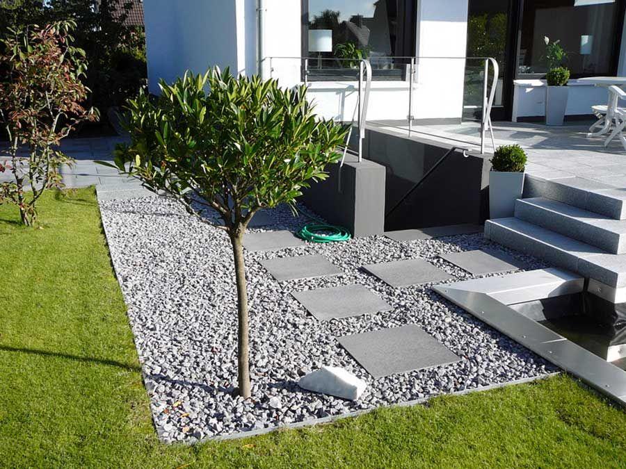 kiesweg mit trittplatten aus stein garten und eingang. Black Bedroom Furniture Sets. Home Design Ideas